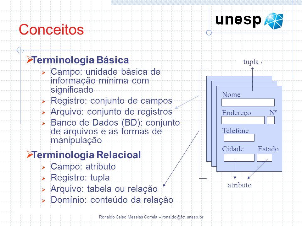 Ronaldo Celso Messias Correia – ronaldo@fct.unesp.br Conceitos Sistema Gerenciador de Banco de Dados (SGBD) É uma coleção de programas que permite aos usuários criar e manter um banco de dados É um sistema de sofware que facilita os processos de definição, construção, manipulação e compartilhamento de bancos de dados entre vários usuários e aplicações Definição: Especificação dos tipos de dados, das estruturas das tabelas e das restrições que devem ser impostas aos dados que serão armazenados Construção: Processo de acumular os dados num meio de armazenamento controlado pelo SGBD Manipulação: Operações como atualização do banco de dados (inclusão, exclusão e alteração de registros) e extração de dados, como consultas e relatórios impressos Compartilhamento: Permite aos múltiplos usuários e programas acessar, de forma concorrente, o banco de dados Ex: Oracle, SQL Server, PostgreSQL, MYSQL, Interbase, Sybase, Firebird, etc..