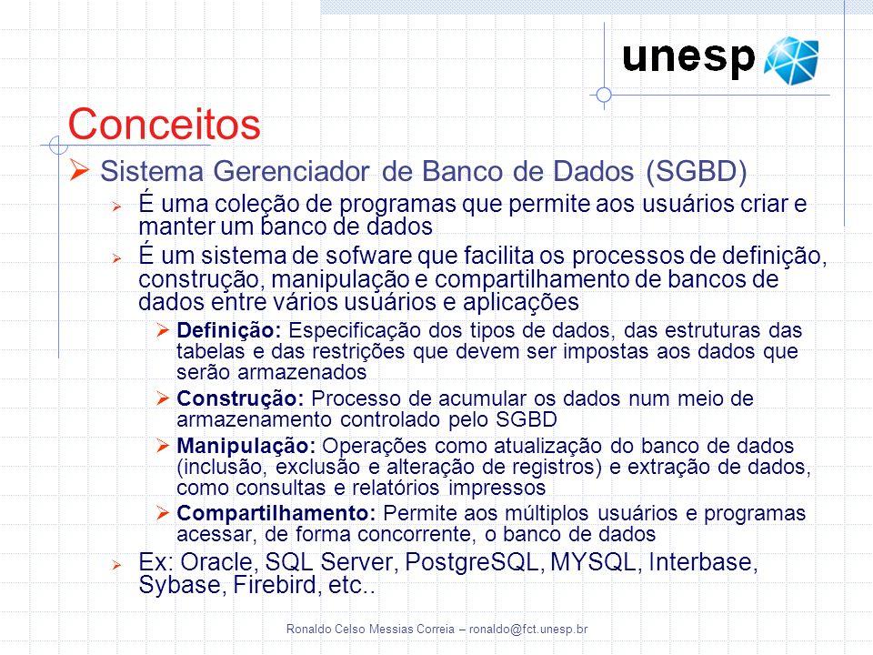 Ronaldo Celso Messias Correia – ronaldo@fct.unesp.br Conceitos Sistema Gerenciador de Banco de Dados (SGBD) É uma coleção de programas que permite aos