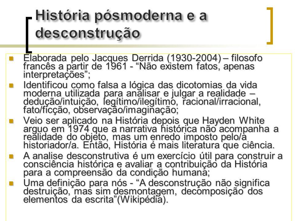 Elaborada pelo Jacques Derrida (1930-2004) – filosofo francês a partir de 1961 - Não existem fatos, apenas interpretações; Elaborada pelo Jacques Derr