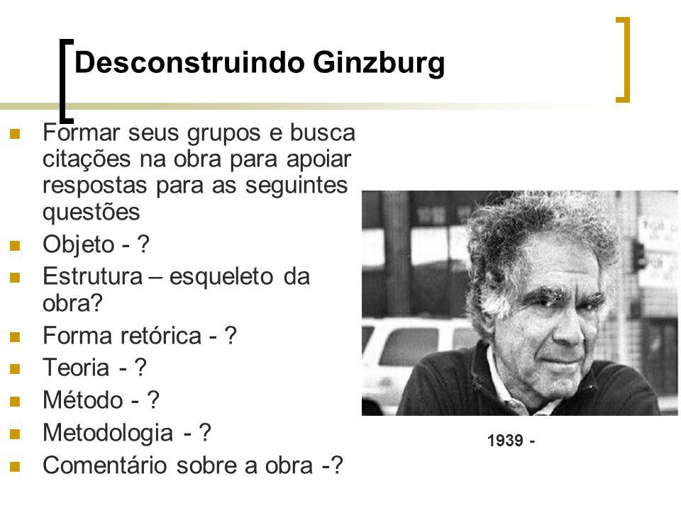 Desconstruindo Ginzburg Formar seus grupos e busca citações na obra para apoiar respostas para as seguintes questões Objeto - ? Estrutura – esqueleto