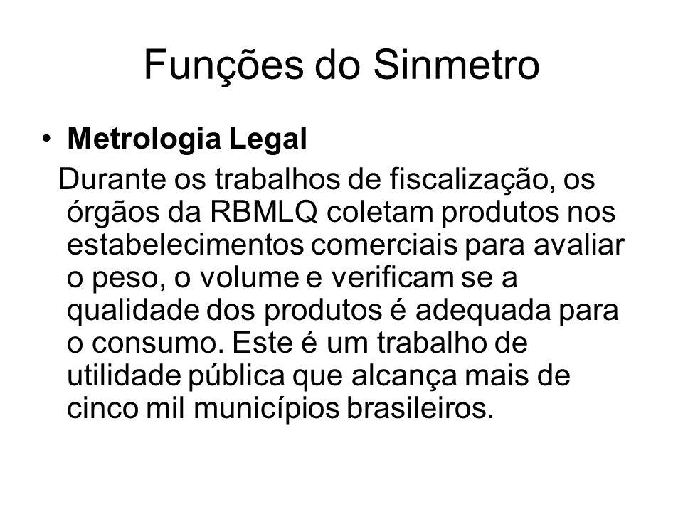 Funções do Sinmetro Metrologia Legal Durante os trabalhos de fiscalização, os órgãos da RBMLQ coletam produtos nos estabelecimentos comerciais para avaliar o peso, o volume e verificam se a qualidade dos produtos é adequada para o consumo.