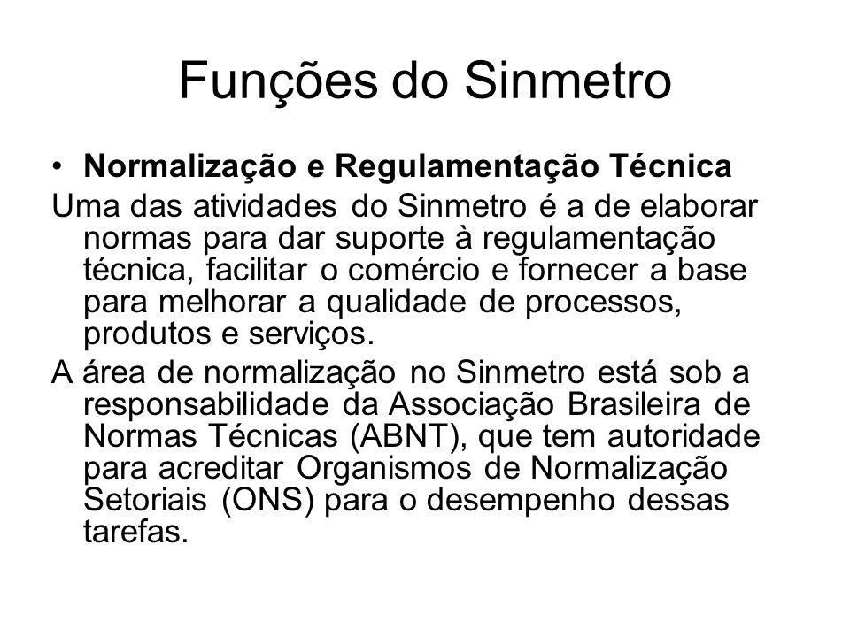 Funções do Sinmetro Normalização e Regulamentação Técnica Uma das atividades do Sinmetro é a de elaborar normas para dar suporte à regulamentação técnica, facilitar o comércio e fornecer a base para melhorar a qualidade de processos, produtos e serviços.
