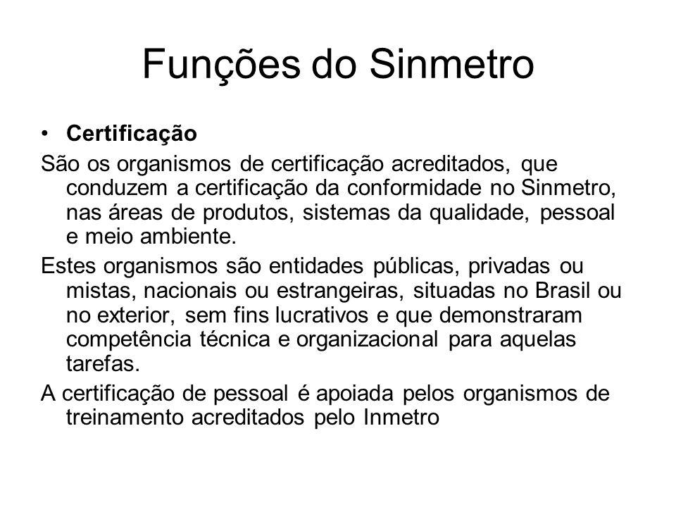 Funções do Sinmetro Certificação São os organismos de certificação acreditados, que conduzem a certificação da conformidade no Sinmetro, nas áreas de produtos, sistemas da qualidade, pessoal e meio ambiente.