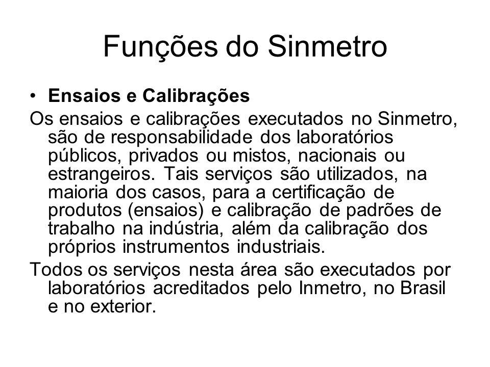 Funções do Sinmetro Ensaios e Calibrações Os ensaios e calibrações executados no Sinmetro, são de responsabilidade dos laboratórios públicos, privados ou mistos, nacionais ou estrangeiros.