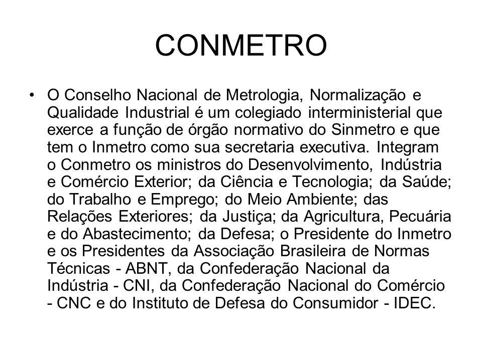 CONMETRO O Conselho Nacional de Metrologia, Normalização e Qualidade Industrial é um colegiado interministerial que exerce a função de órgão normativo do Sinmetro e que tem o Inmetro como sua secretaria executiva.