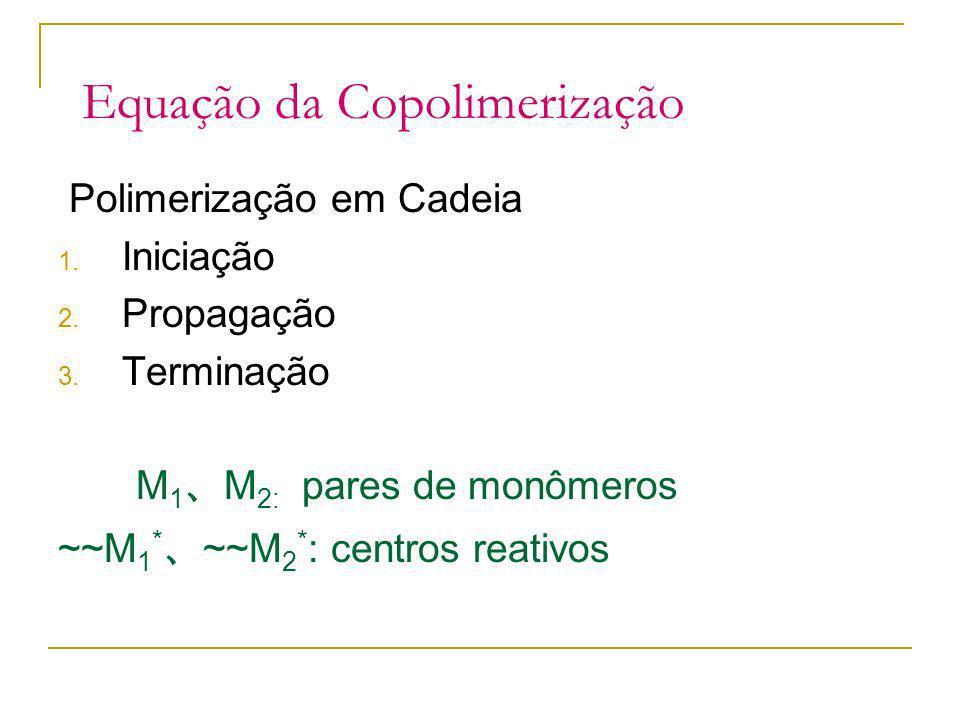 Equação da Copolimerização Polimerização em Cadeia 1. Iniciação 2. Propagação 3. Terminação M 1 M 2: pares de monômeros ~~M 1 * ~~M 2 * : centros reat