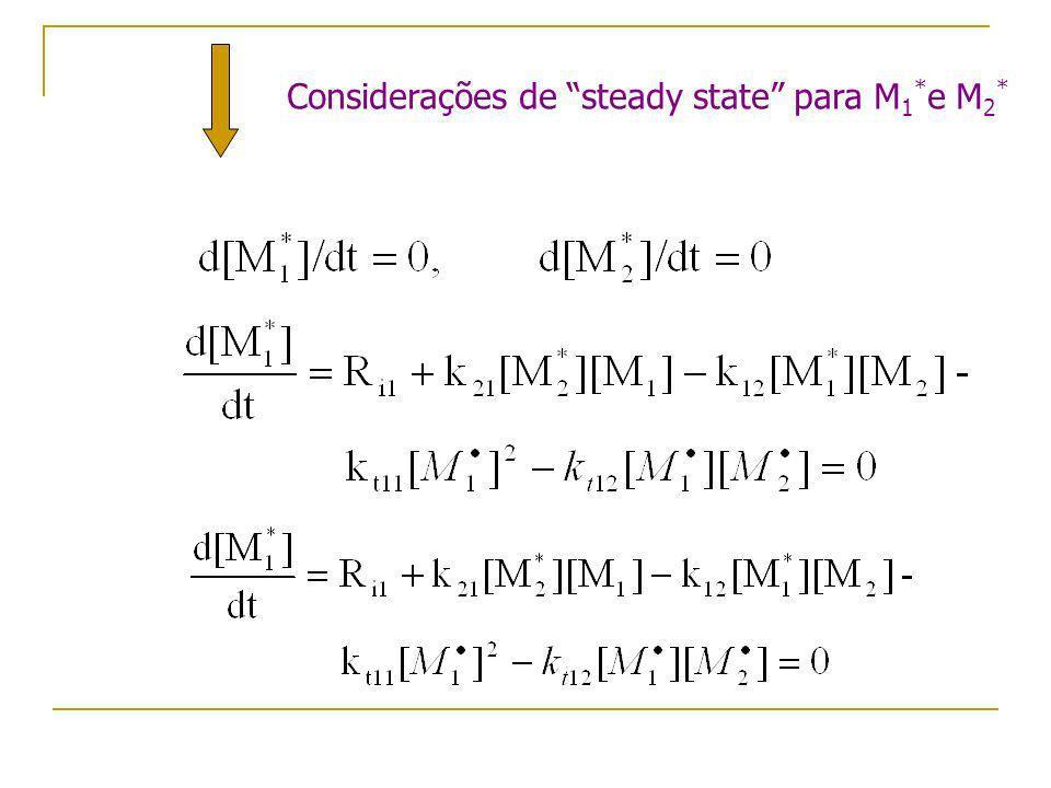 Considerações de steady state para M 1 * e M 2 *