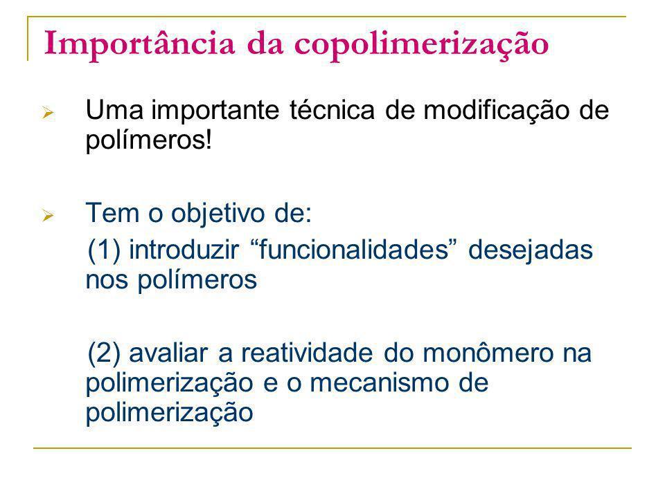 Importância da copolimerização Uma importante técnica de modificação de polímeros! Tem o objetivo de: (1) introduzir funcionalidades desejadas nos pol
