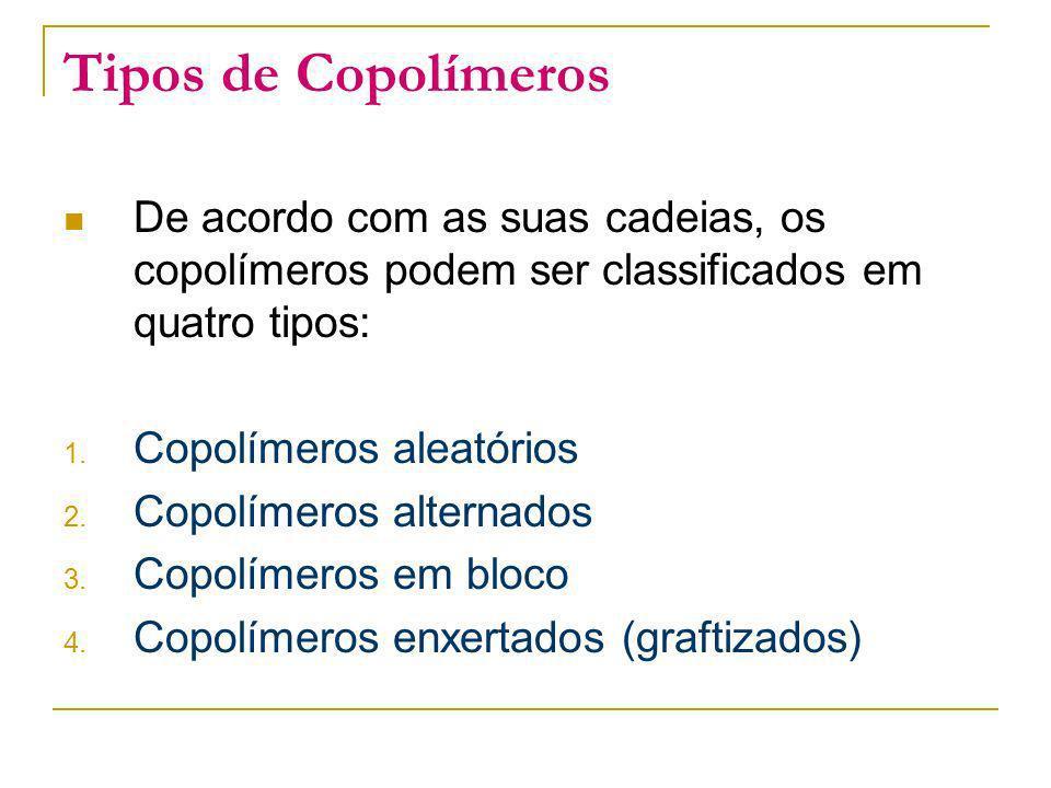 Tipos de Copolímeros De acordo com as suas cadeias, os copolímeros podem ser classificados em quatro tipos: 1. Copolímeros aleatórios 2. Copolímeros a