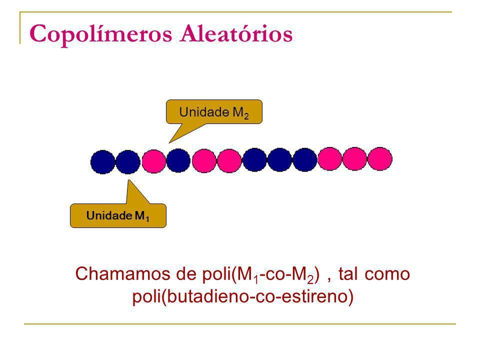 Copolímeros Aleatórios Chamamos de poli(M 1 -co-M 2 ) tal como poli(butadieno-co-estireno) Unidade M 1 Unidade M 2