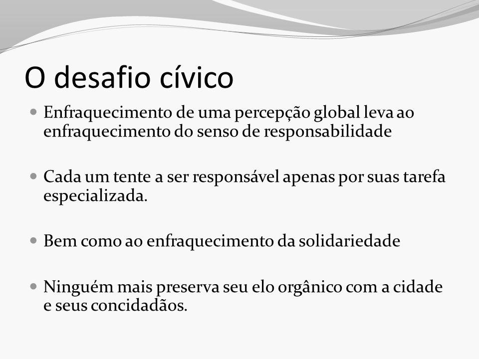 O desafio cívico Enfraquecimento de uma percepção global leva ao enfraquecimento do senso de responsabilidade Cada um tente a ser responsável apenas p
