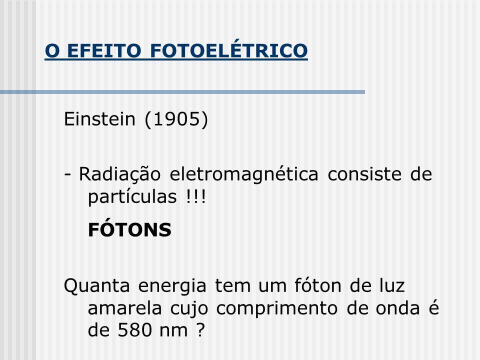 O EFEITO FOTOELÉTRICO Einstein (1905) - Radiação eletromagnética consiste de partículas !!! FÓTONS Quanta energia tem um fóton de luz amarela cujo com