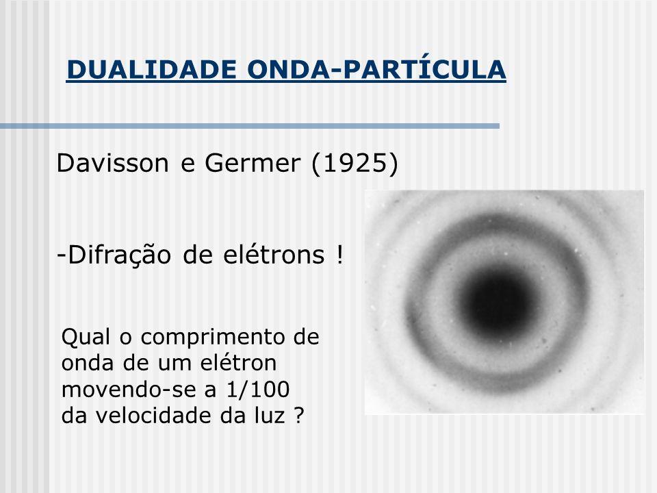 DUALIDADE ONDA-PARTÍCULA Davisson e Germer (1925) -Difração de elétrons ! Qual o comprimento de onda de um elétron movendo-se a 1/100 da velocidade da