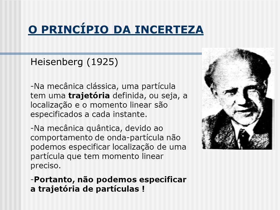 O PRINCÍPIO DA INCERTEZA Heisenberg (1925) -Na mecânica clássica, uma partícula tem uma trajetória definida, ou seja, a localização e o momento linear são especificados a cada instante.