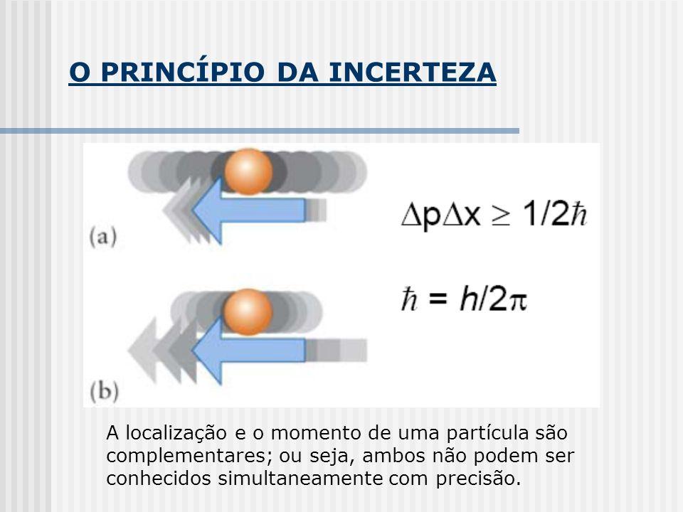 O PRINCÍPIO DA INCERTEZA A localização e o momento de uma partícula são complementares; ou seja, ambos não podem ser conhecidos simultaneamente com precisão.