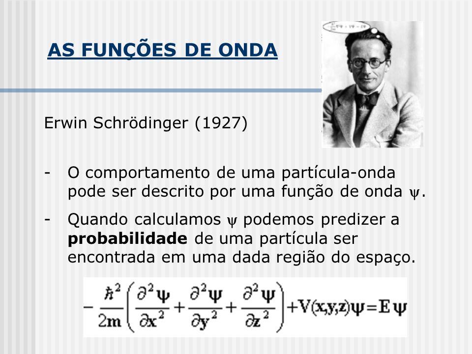 AS FUNÇÕES DE ONDA Erwin Schrödinger (1927) -O comportamento de uma partícula-onda pode ser descrito por uma função de onda.