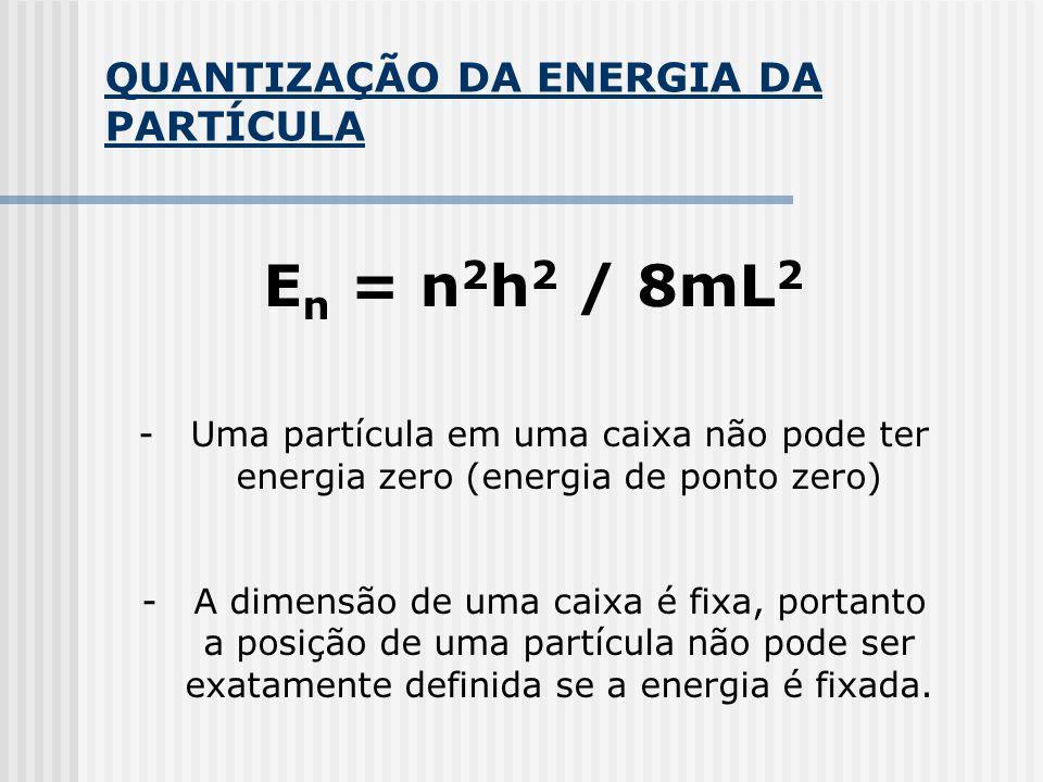 QUANTIZAÇÃO DA ENERGIA DA PARTÍCULA E n = n 2 h 2 / 8mL 2 -Uma partícula em uma caixa não pode ter energia zero (energia de ponto zero) -A dimensão de uma caixa é fixa, portanto a posição de uma partícula não pode ser exatamente definida se a energia é fixada.