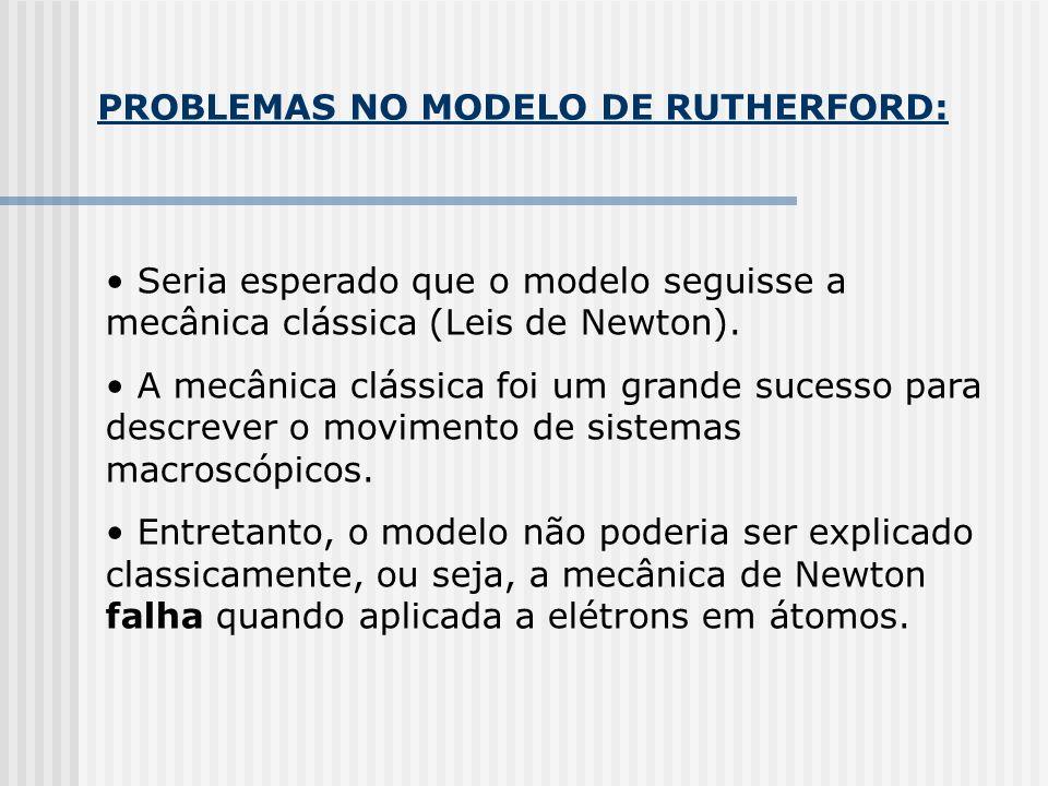 PROBLEMAS NO MODELO DE RUTHERFORD: Seria esperado que o modelo seguisse a mecânica clássica (Leis de Newton).