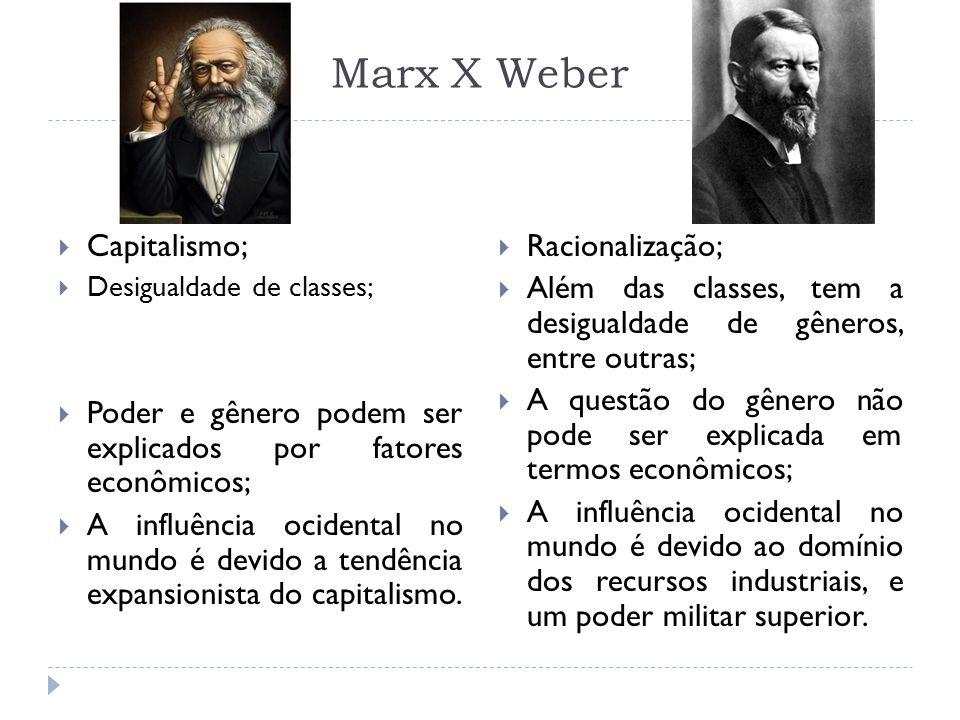 Marx X Weber Capitalismo; Desigualdade de classes; Poder e gênero podem ser explicados por fatores econômicos; A influência ocidental no mundo é devid