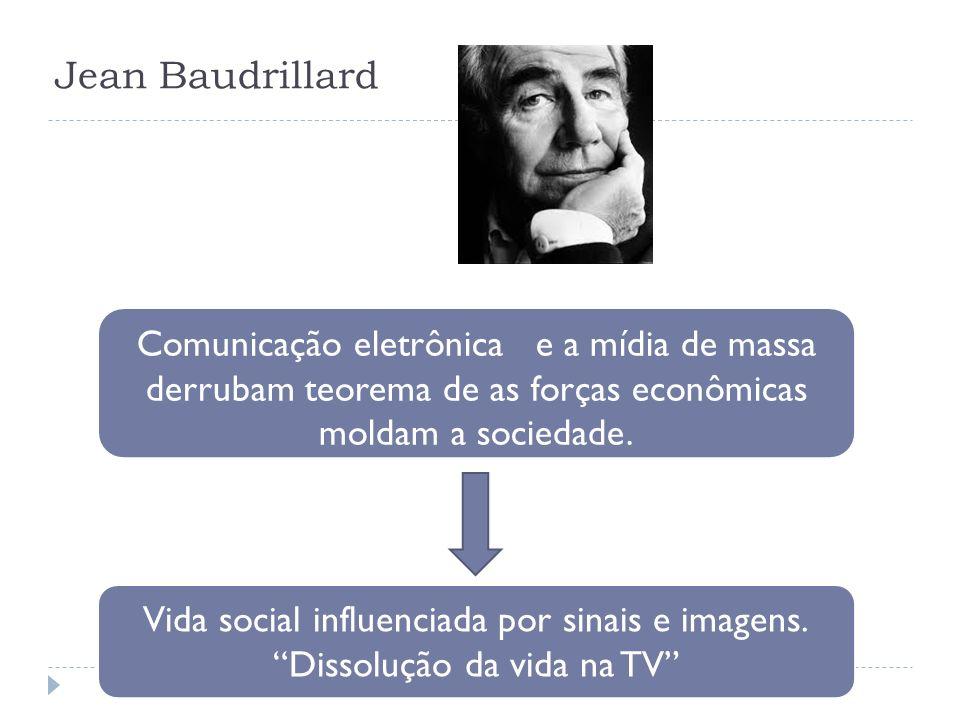 Jean Baudrillard Comunicação eletrônica e a mídia de massa derrubam teorema de as forças econômicas moldam a sociedade. Vida social influenciada por s