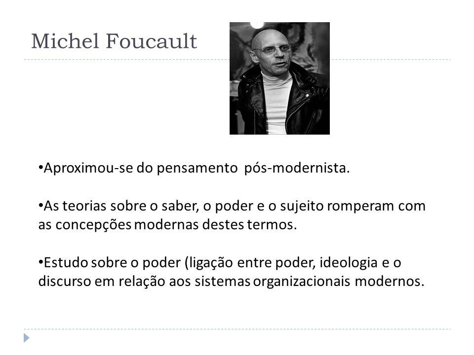 Michel Foucault Aproximou-se do pensamento pós-modernista. As teorias sobre o saber, o poder e o sujeito romperam com as concepções modernas destes te