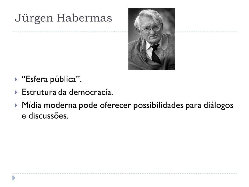 Jürgen Habermas Esfera pública. Estrutura da democracia. Mídia moderna pode oferecer possibilidades para diálogos e discussões.