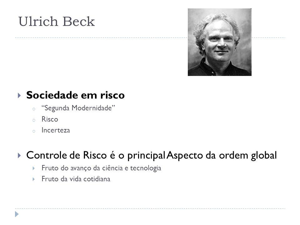 Ulrich Beck Sociedade em risco o Segunda Modernidade o Risco o Incerteza Controle de Risco é o principal Aspecto da ordem global Fruto do avanço da ci