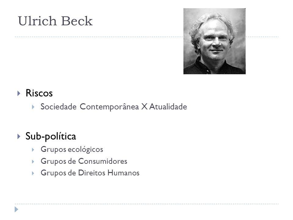 Ulrich Beck Riscos Sociedade Contemporânea X Atualidade Sub-política Grupos ecológicos Grupos de Consumidores Grupos de Direitos Humanos