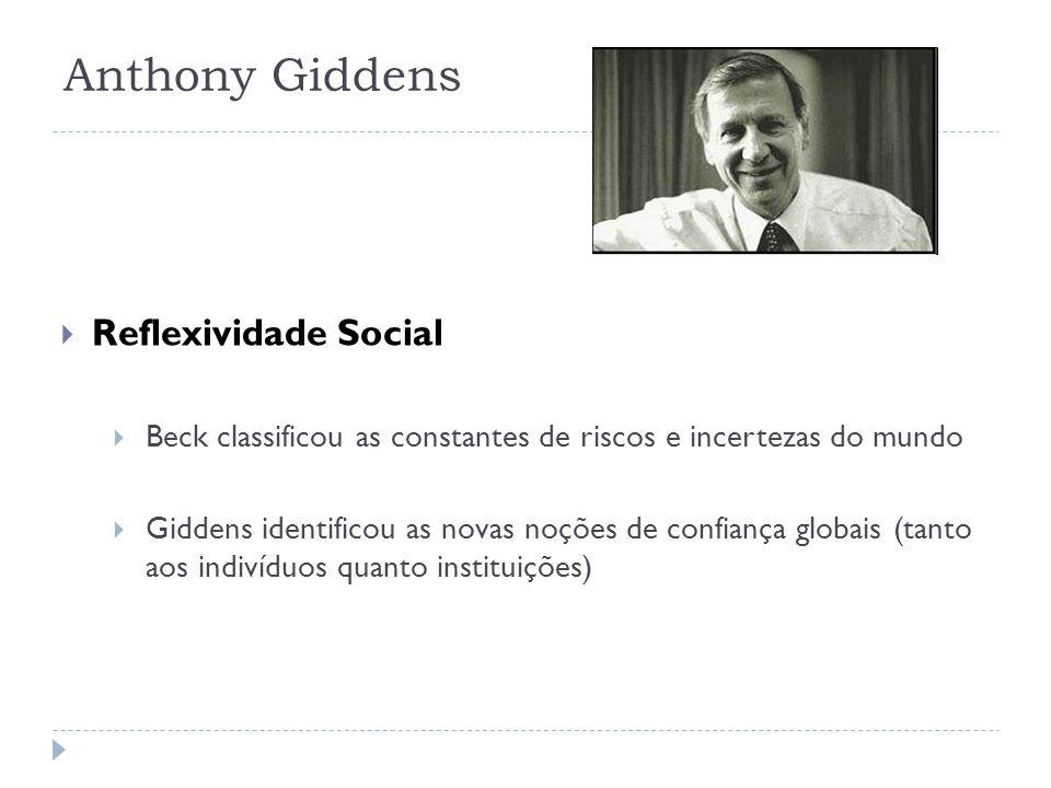 Anthony Giddens Reflexividade Social Beck classificou as constantes de riscos e incertezas do mundo Giddens identificou as novas noções de confiança g