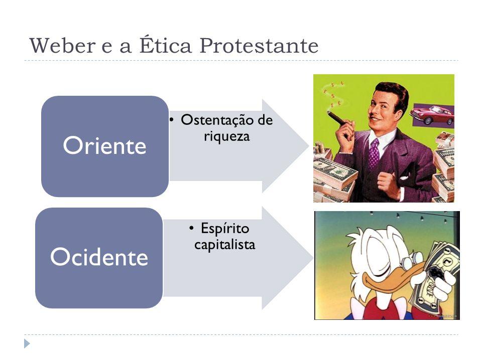 Weber e a Ética Protestante Espírito capitalista ligado a religião (prostestante).