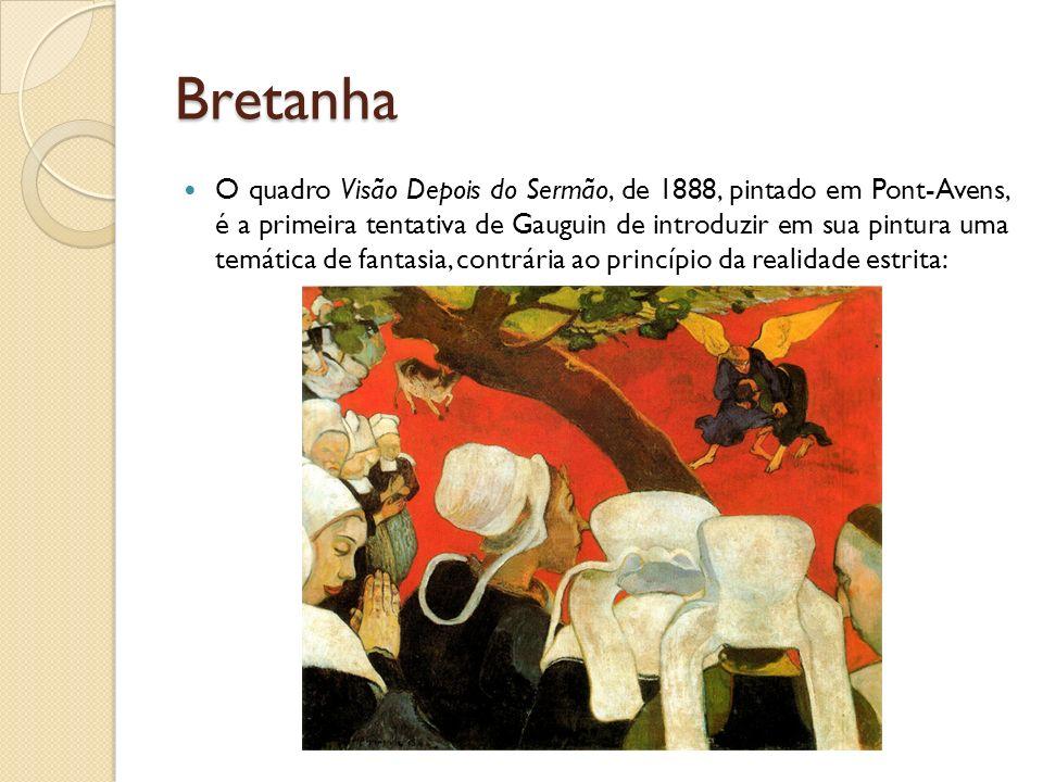 Bretanha O quadro Visão Depois do Sermão, de 1888, pintado em Pont-Avens, é a primeira tentativa de Gauguin de introduzir em sua pintura uma temática