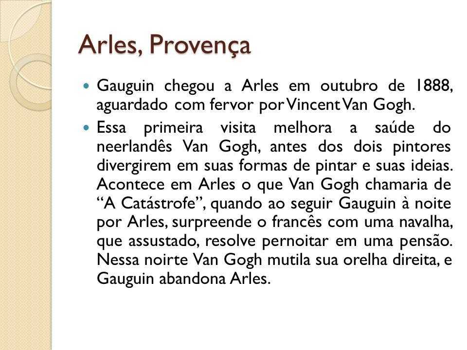 Arles, Provença Gauguin chegou a Arles em outubro de 1888, aguardado com fervor por Vincent Van Gogh. Essa primeira visita melhora a saúde do neerland