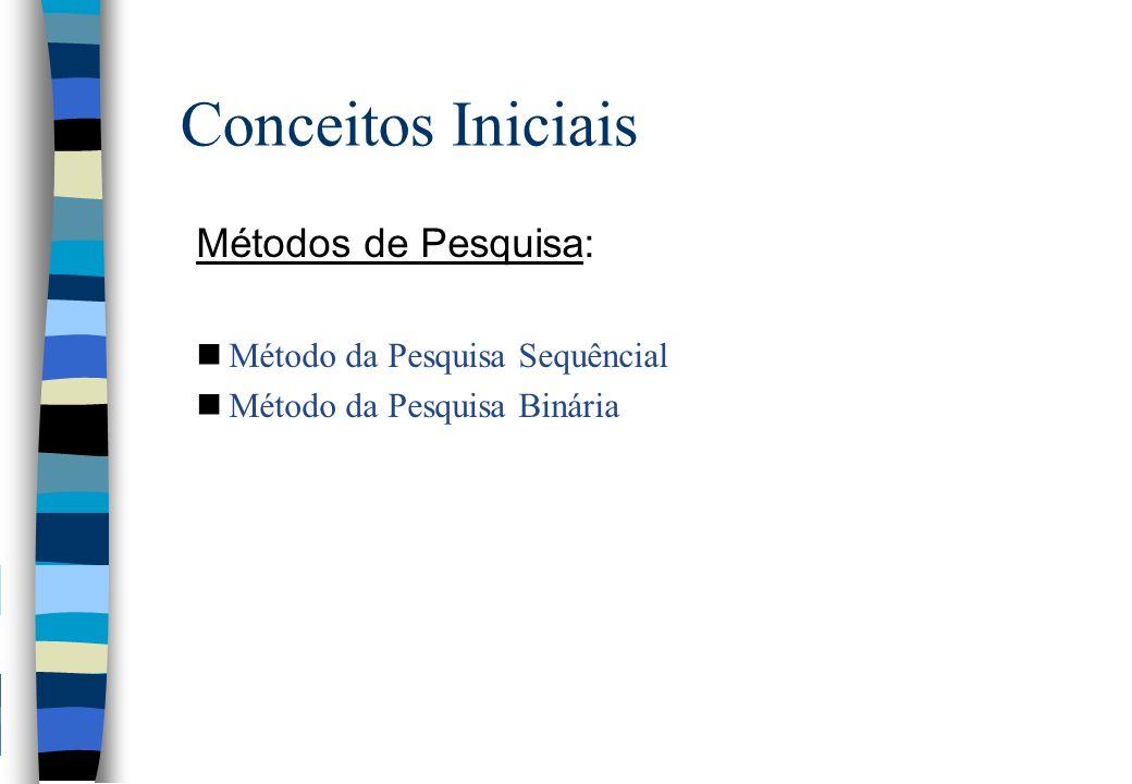 Conceitos Iniciais Métodos de Pesquisa: nMétodo da Pesquisa Sequêncial nMétodo da Pesquisa Binária