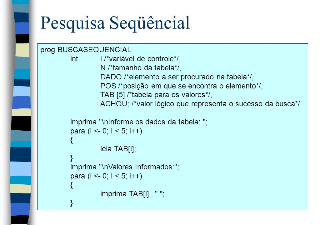 Pesquisa Seqüêncial prog BUSCASEQUENCIAL int i /*variável de controle*/, N /*tamanho da tabela*/, DADO /*elemento a ser procurado na tabela*/, POS /*posição em que se encontra o elemento*/, TAB [5] /*tabela para os valores*/, ACHOU; /*valor lógico que representa o sucesso da busca*/ imprima \nInforme os dados da tabela: ; para (i <- 0; i < 5; i++) { leia TAB[i]; } imprima \nValores Informados: ; para (i <- 0; i < 5; i++) { imprima TAB[i], ; }