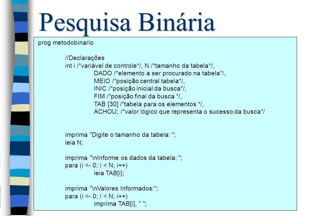 Pesquisa Binária prog metodobinario //Declarações int i /*variável de controle*/, N /*tamanho da tabela*/, DADO /*elemento a ser procurado na tabela*/, MEIO /*posição central tabela*/, INIC /*posição inicial da busca*/, FIM /*posição final da busca */, TAB [30] /*tabela para os elementos */, ACHOU; /*valor lógico que representa o sucesso da busca*/ imprima Digite o tamanho da tabela: ; leia N; imprima \nInforme os dados da tabela: ; para (i <- 0; i < N; i++) leia TAB[i]; imprima \nValores Informados: ; para (i <- 0; i < N; i++) imprima TAB[i], ;