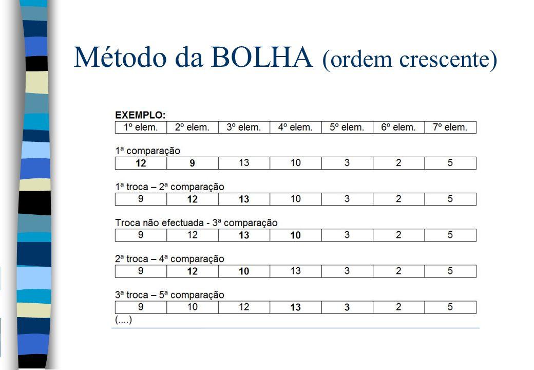 Método da BOLHA (ordem crescente)