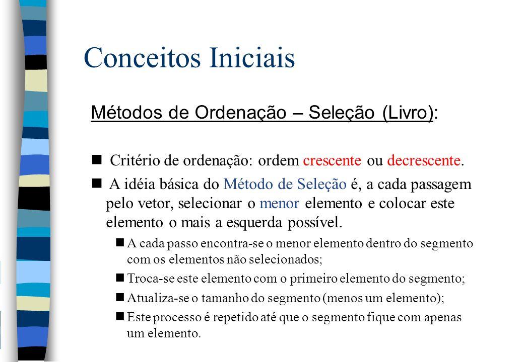 Conceitos Iniciais Métodos de Ordenação – Seleção (Livro): n Critério de ordenação: ordem crescente ou decrescente. n A idéia básica do Método de Sele