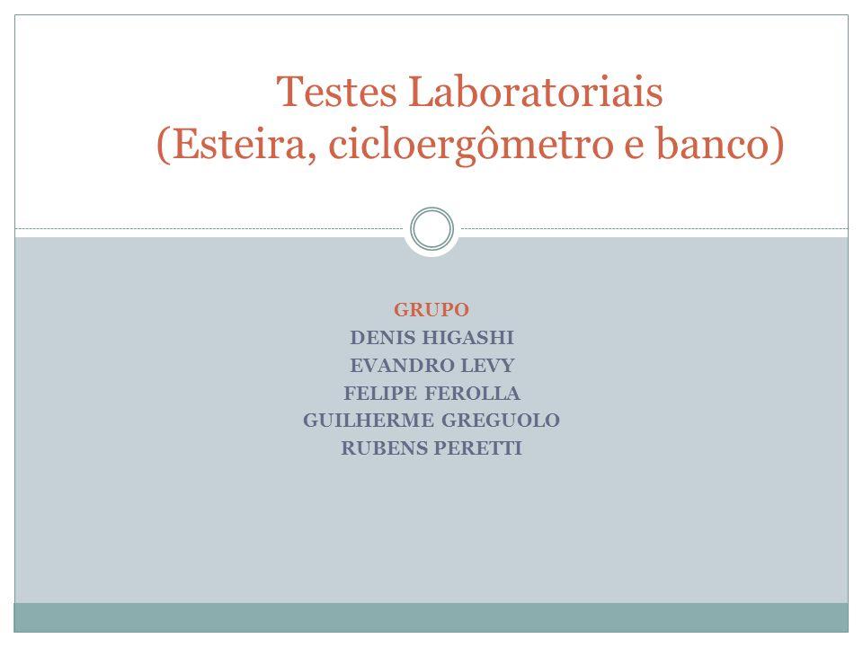 GRUPO DENIS HIGASHI EVANDRO LEVY FELIPE FEROLLA GUILHERME GREGUOLO RUBENS PERETTI Testes Laboratoriais (Esteira, cicloergômetro e banco)