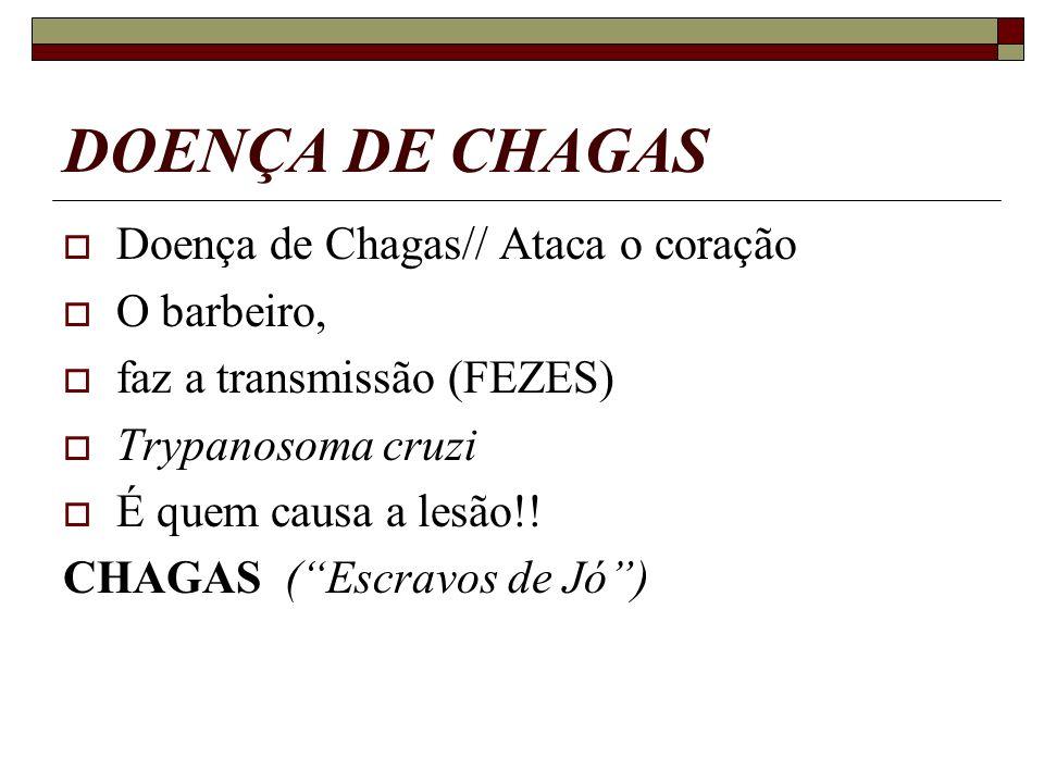 DOENÇA DE CHAGAS Doença de Chagas// Ataca o coração O barbeiro, faz a transmissão (FEZES) Trypanosoma cruzi É quem causa a lesão!! CHAGAS (Escravos de