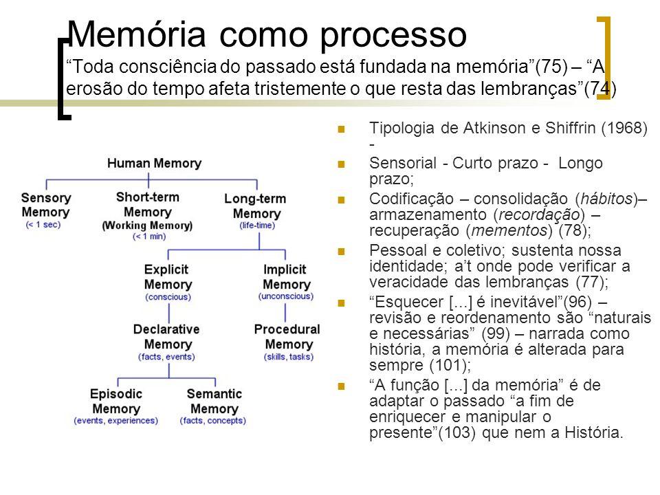 Memória como processoToda consciência do passado está fundada na memória(75) – A erosão do tempo afeta tristemente o que resta das lembranças(74) Tipo