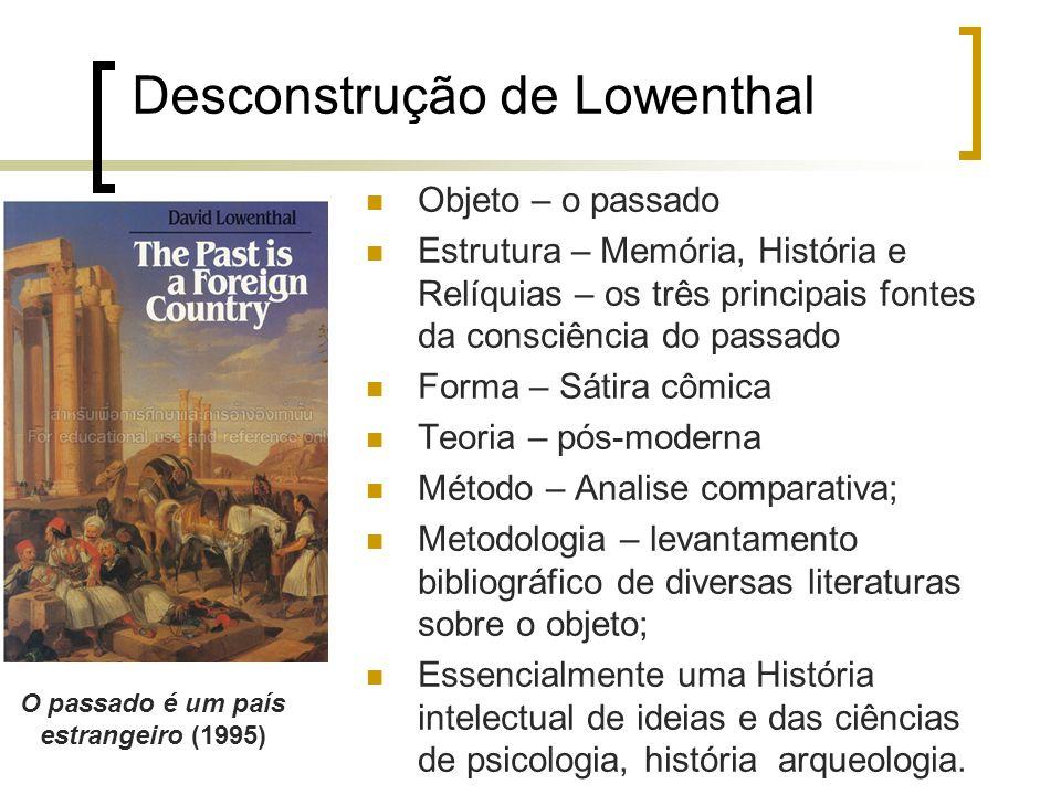Desconstrução de Lowenthal Objeto – o passado Estrutura – Memória, História e Relíquias – os três principais fontes da consciência do passado Forma –