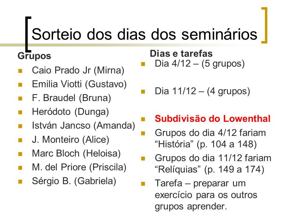 Sorteio dos dias dos seminários Grupos Caio Prado Jr (Mirna) Emilia Viotti (Gustavo) F. Braudel (Bruna) Heródoto (Dunga) István Jancso (Amanda) J. Mon