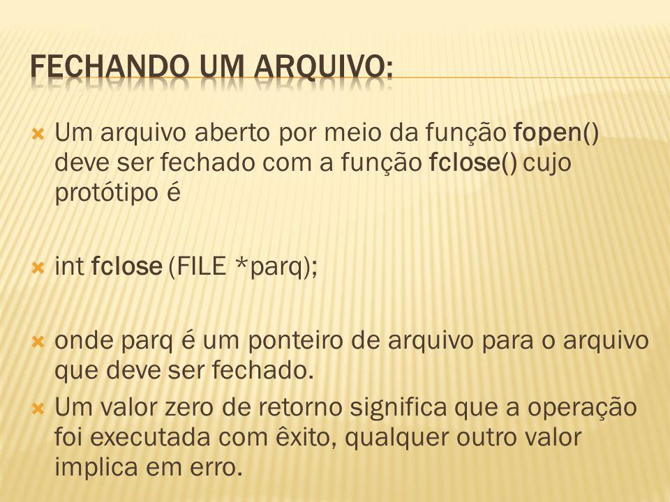 A operação fclose() implica em escrita no arquivo de qualquer dado que ainda não tenha sido escrito.