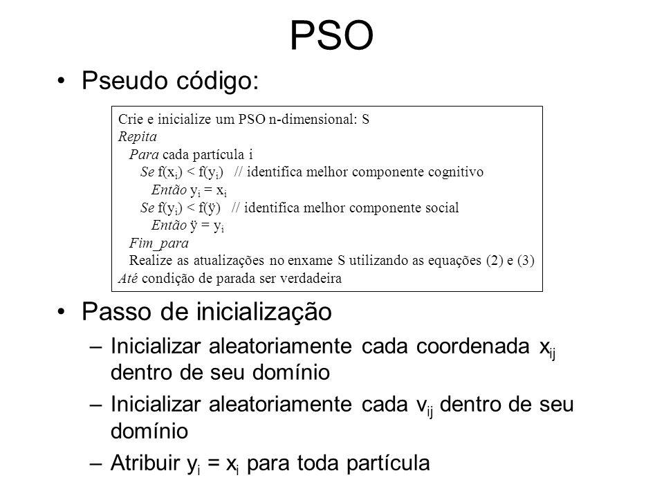 PSO Pseudo código: Passo de inicialização –Inicializar aleatoriamente cada coordenada x ij dentro de seu domínio –Inicializar aleatoriamente cada v ij