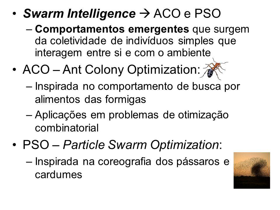 Swarm Intelligence ACO e PSO –Comportamentos emergentes que surgem da coletividade de indivíduos simples que interagem entre si e com o ambiente ACO –