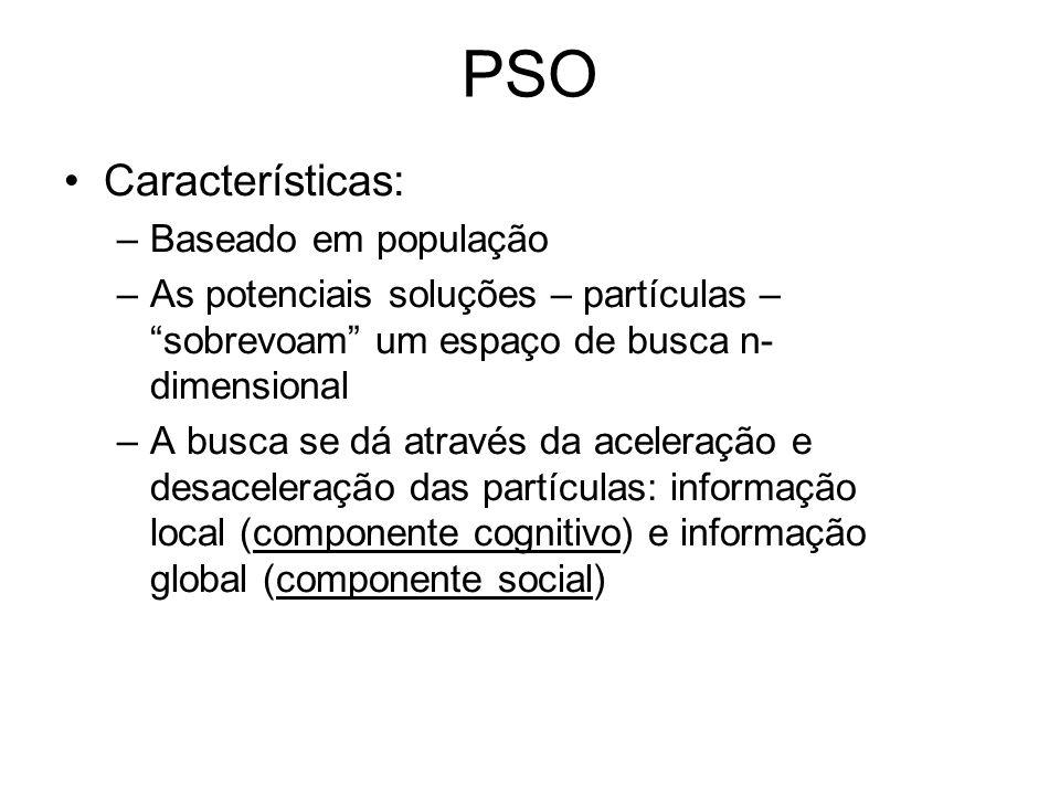 Características: –Baseado em população –As potenciais soluções – partículas – sobrevoam um espaço de busca n- dimensional –A busca se dá através da ac