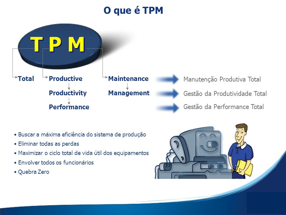 T P M TotalProductiveMaintenance ProductivityManagement Performance Manutenção Produtiva Total Gestão da Produtividade Total Gestão da Performance Tot