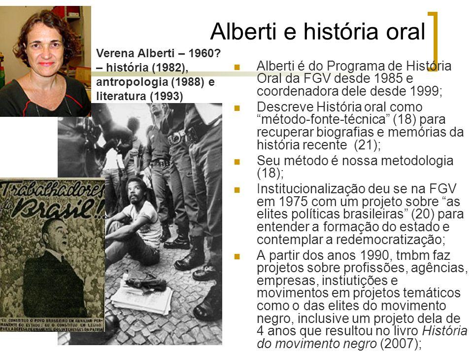 Alberti e história oral Alberti é do Programa de História Oral da FGV desde 1985 e coordenadora dele desde 1999; Descreve História oral comométodo-fon