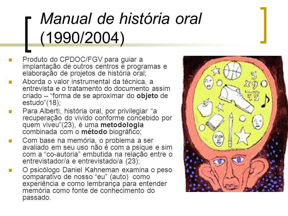 Manual de história oral (1990/2004) Produto do CPDOC/FGV para guiar a implantação de outros centros e programas e elaboração de projetos de história o