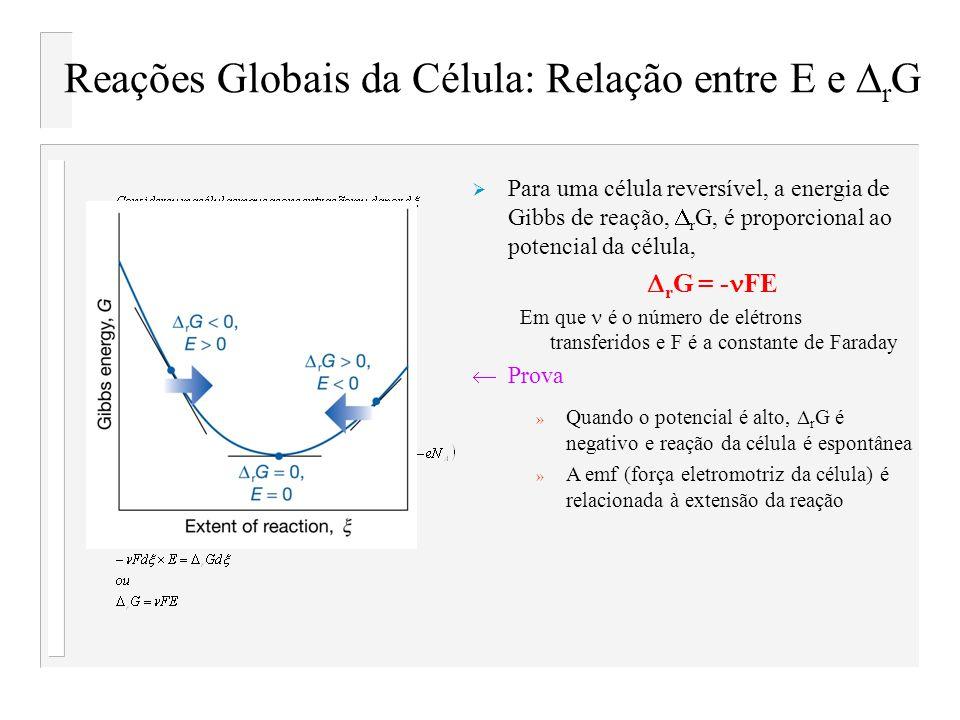 Reações Globais da Célula: Relação entre E e r G Para uma célula reversível, a energia de Gibbs de reação, r G, é proporcional ao potencial da célula,